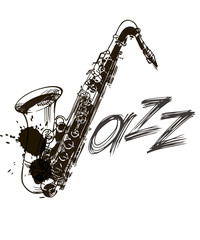 Jazz lettering. Jazz festival. Music poster. Calligraphy. Lettering. Isolated illustration on a white background.