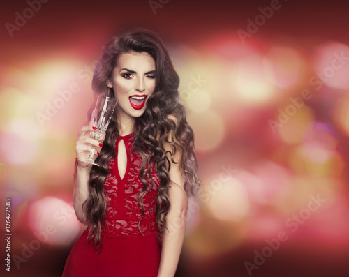 Girl champagne Sexy drinking