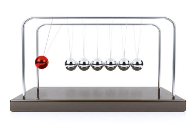 Balancing ball Newton's cradle pendulum isolated on white background
