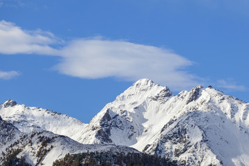 High snowcapped mountain peak