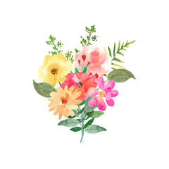 Hand drawn watercolor bouquet. Isolated elements. Vector.
