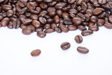 coffee beans on white background , textures, pattern