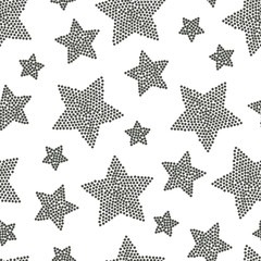 Hand drawn seamless dot star pattern. Grungy  mosaic, noise,  ba