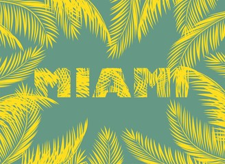 Yellow Miami print with palm leaves