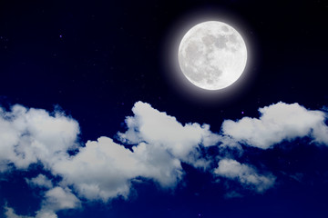 Romantic night with full moon in space over stars with cloudscap