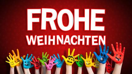 """viele angemalte Kinderhände mit Smileys vor weihnachtlichem Hintergrund mit """"Frohe Weihnachten"""" Nachricht"""