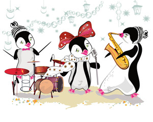 Series of cute penguins playing musical instruments. Christmas card.