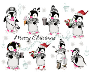 Set of cute penguins with coffee, ice-cream, gifts, headphones, camera, winter clothes. Christmas background.
