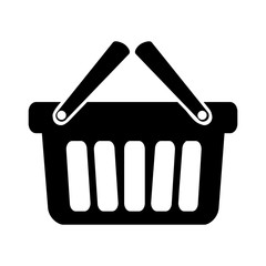 silhouette of shopping basket icon over white background. vector illustration