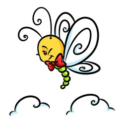 Insect butterfly flight cartoon illustration isolated image character
