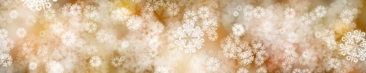 Snow background. Panorama snowflakes.