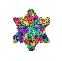 Doodle style colorful hexagram illustration. Colorful zentangle hexagram sketch. Hexagram tattoo sketch. Ethnic wavy six points star vector illustration on white.