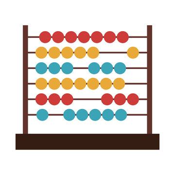 colorful abacus icon over white background. mathematics education object. vector illustration
