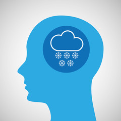 symbol weather icon. silhouette head and cloud snow vector illustration eps 10