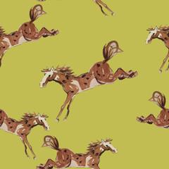 Brown running horse. Watercolor hand drawn illustration