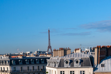 Parisian cityscape with Eiffel tower in the background