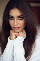 Beautiful young female brunette