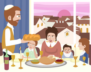 Kabbalat Shabbat, family night meal, colorful vector cartoon ill