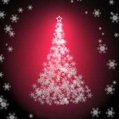 christmas card,white snowflakes,christmas tree