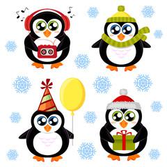 Set of cute cartoon penguin