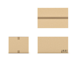 Rendering of light beige cardboard mail box taped with duct tape from different foreshortenings isolated on a white background.