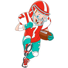 Cute and happy cartoon boy playing rugby (american football), isolated on white background. Childish vector illustration and colorful book page for kids.