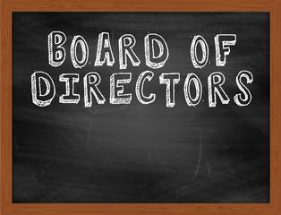 BOARD OF DIRECTORS handwritten text on black chalkboard