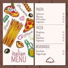 Italian Cafe Restaurant Menu