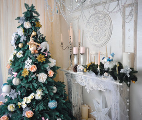 Beautiful Christmas tree in the holiday interior. Happy New Year!