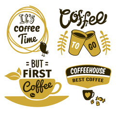Coffee Logos With Quotes Set