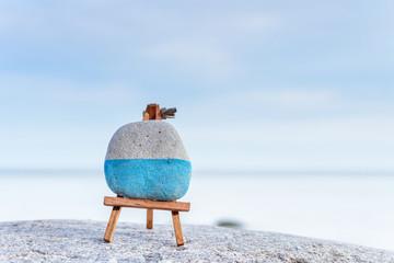 Mini art-board on seashore