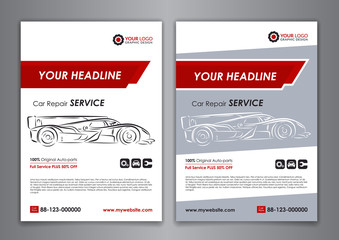 Auto repair Brochure templates, mockup poster, abstract arrow modern backgrounds, automobile magazine cover. Vector illustration.