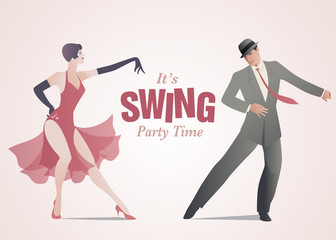 Fototapete - Elegant couple dressed in 1950s clothes style, dancing jazz or swing