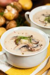 Cream of Mushroom Potato Soup. Selective focus.