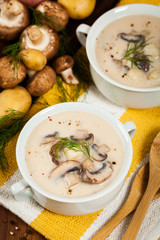 Cream of Mushroom Potato Soup. Selective focus.