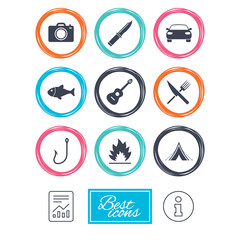 Camping travel icons. Fishing, campfire and tourist tent signs. Guitar music, fork and knife symbols. Report document, information icons. Vector