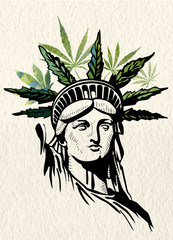 Statue of Liberty marijuana leafs vector image