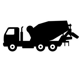 icon concrete mixer truck isolated on white background