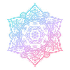 Colorful blue and pink flower mandala. Vintage decorative gradient element. Ornamental round doodle flower isolated on white background. Geometric circle element. Vector illustration.