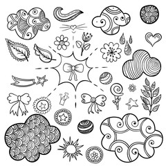 Vector set of fashionable patches elements like heart, flower, mail, cloud, leaf, sun.