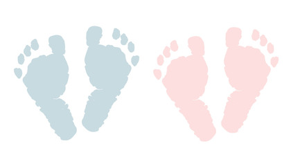 Newborn footprints. Baby girl and boy foots