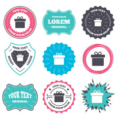 Label and badge templates. Gift box sign icon. Present symbol. Retro style banners, emblems. Vector