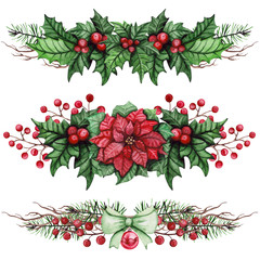 Collection Of Christmas Bouquets with Poinsettia and Holly