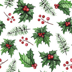 Watercolor Holly and Pine Branch Seamless Pattern
