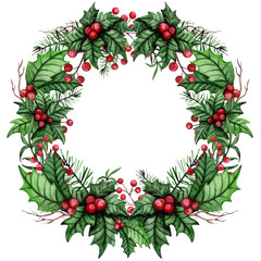 Wreath with Watercolor Red Berries, Holly and Tree Branches