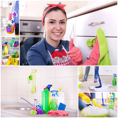 Collage of house cleaning concept