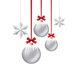 vector new year background with hanging xmas balls and snowflake
