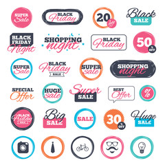Sale shopping stickers and banners. Hipster photo camera. Mustache with beard icon. Glasses and tie symbols. Bicycle sign. Website badges. Black friday. Vector