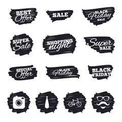 Ink brush sale stripes and banners. Hipster photo camera. Mustache with beard icon. Glasses and tie symbols. Bicycle sign. Black friday. Ink stroke. Vector