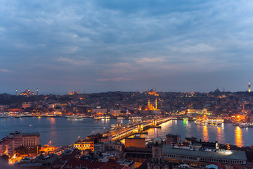 The historic center of Istanbul at sunset. Turkey.